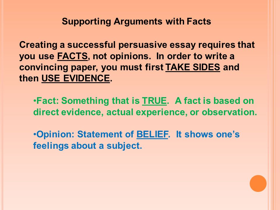Supporting Arguments with Facts