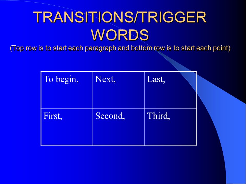 TRANSITIONS/TRIGGER WORDS (Top row is to start each paragraph and bottom row is to start each point)