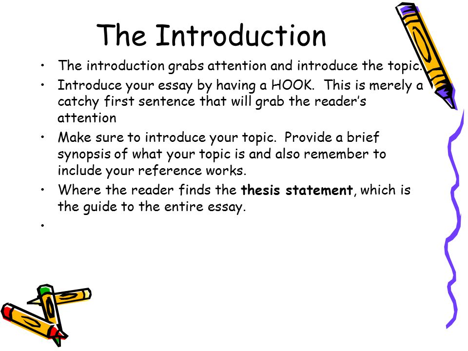 The Introduction The introduction grabs attention and introduce the topic.