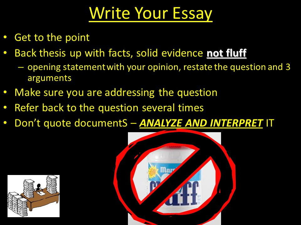 Write Your Essay Get to the point