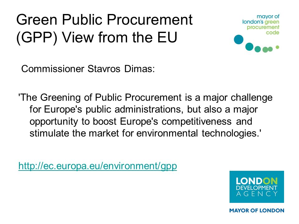 Green Public Procurement (GPP) View from the EU