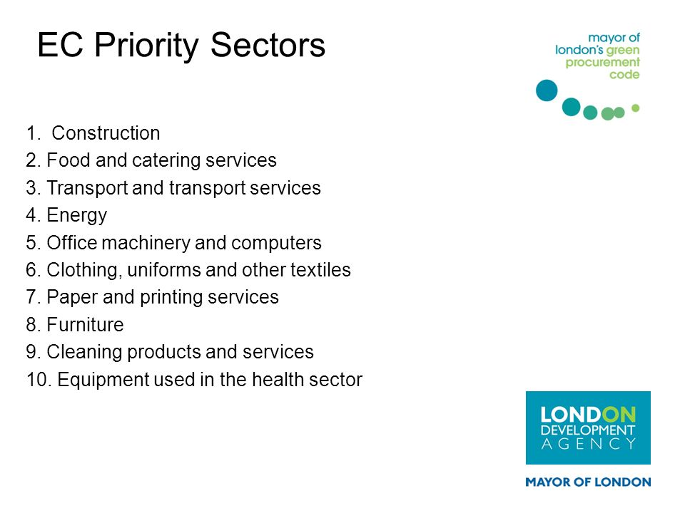 EC Priority Sectors Construction 2. Food and catering services