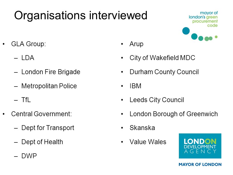 Organisations interviewed