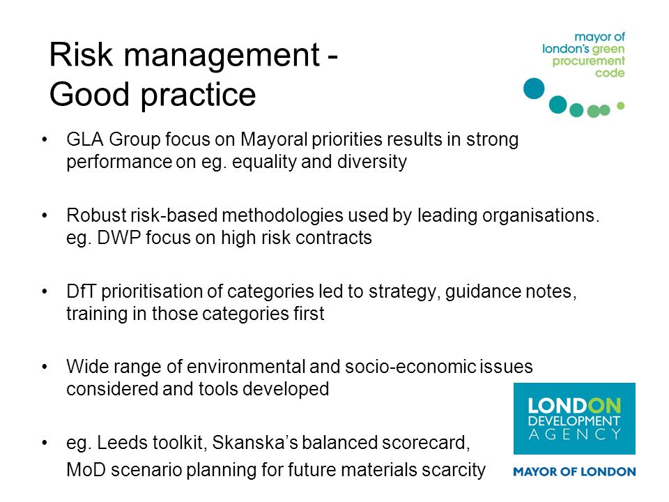 Risk management - Good practice