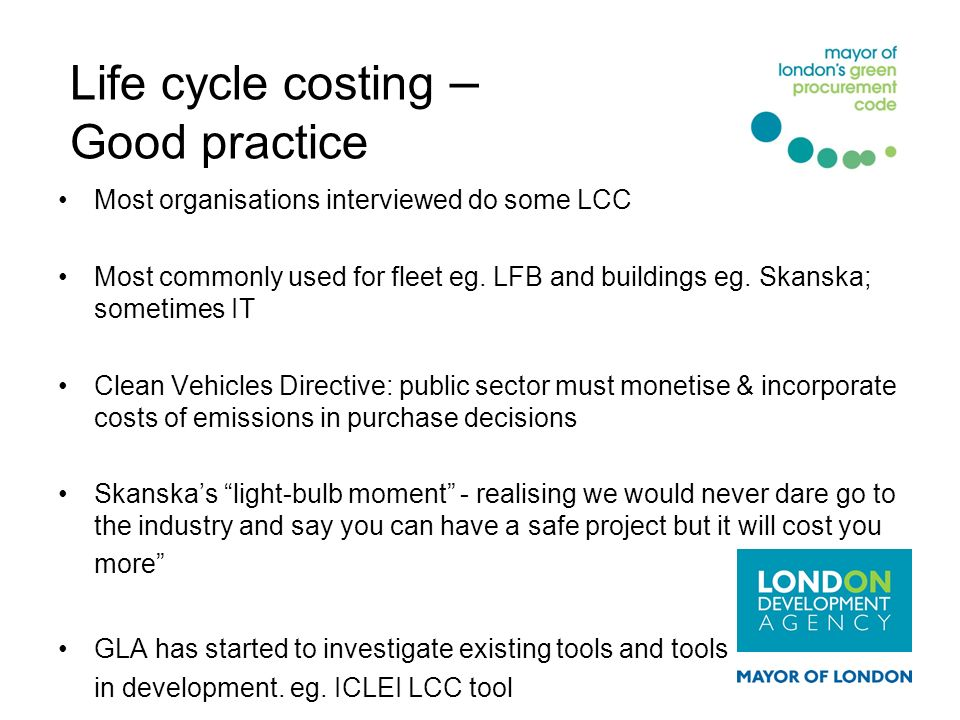 Life cycle costing – Good practice