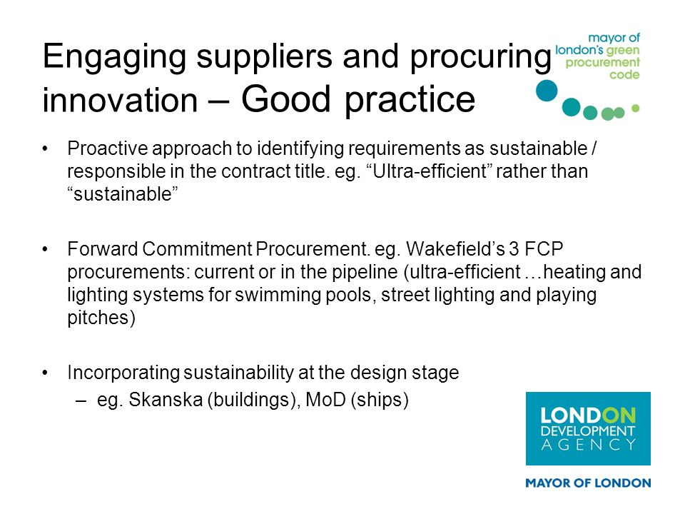 Engaging suppliers and procuring innovation – Good practice