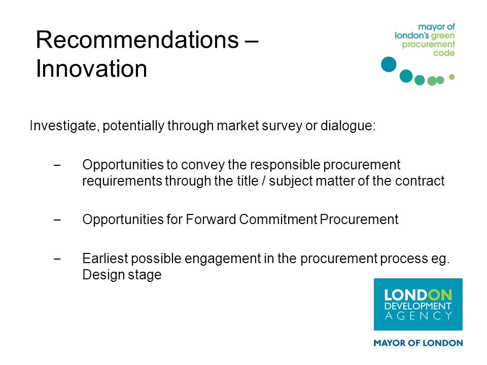 Recommendations – Innovation