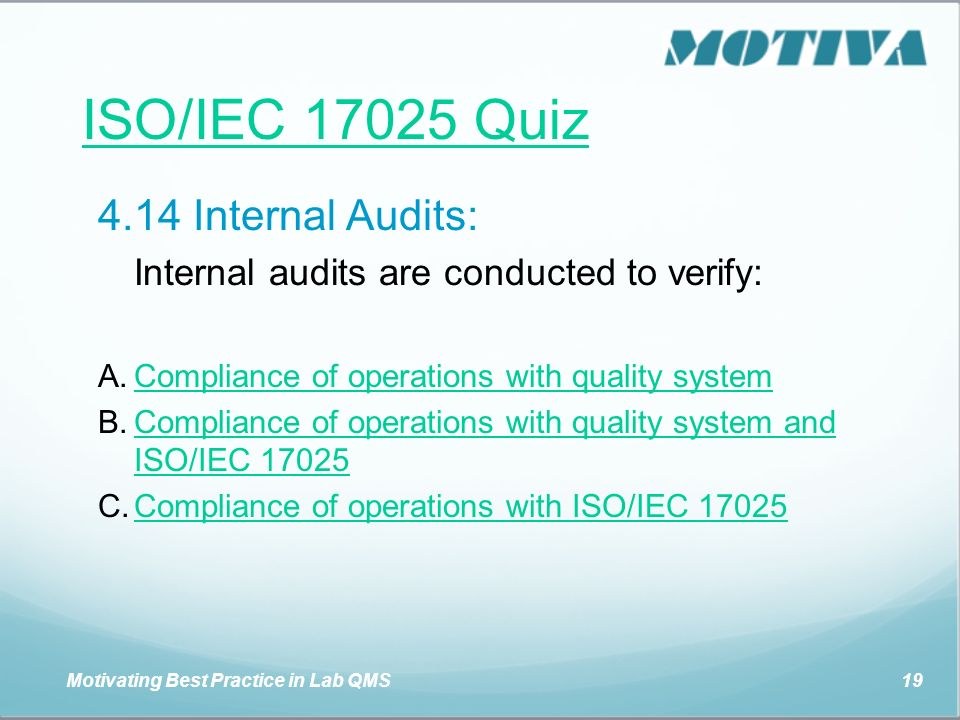 ISO/IEC QUIZ This is a quiz for you to test your knowledge of ISO/IEC