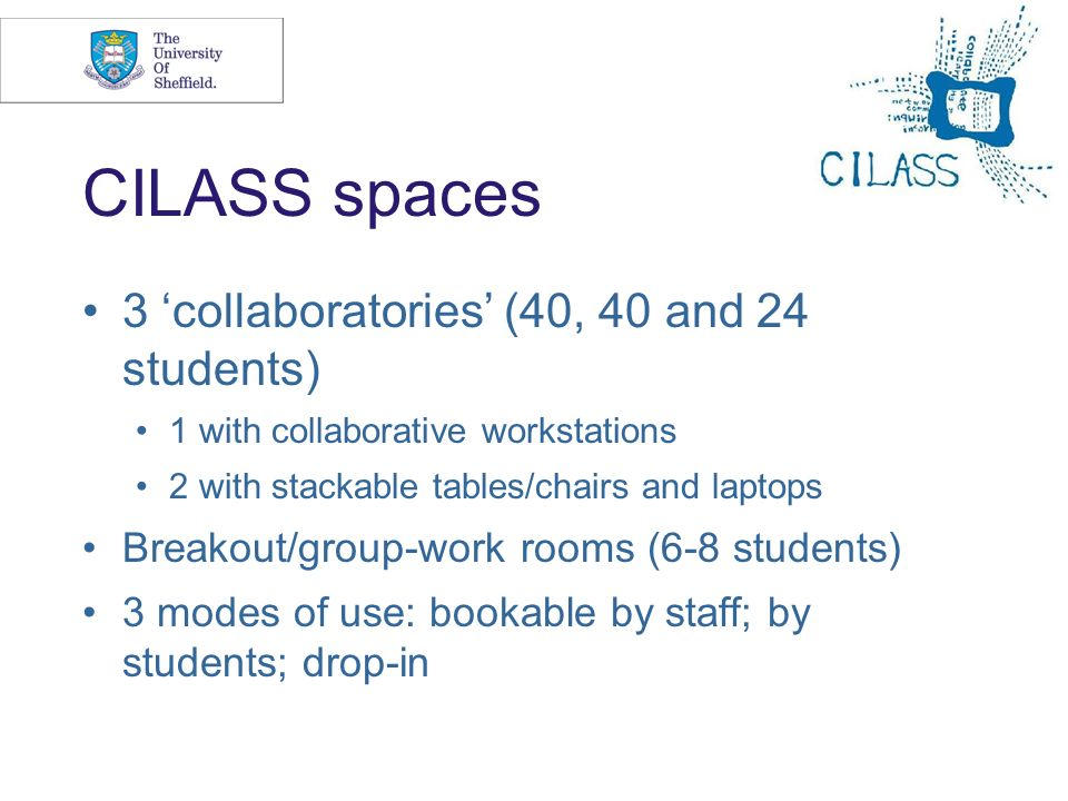 CILASS spaces 3 'collaboratories' (40, 40 and 24 students)