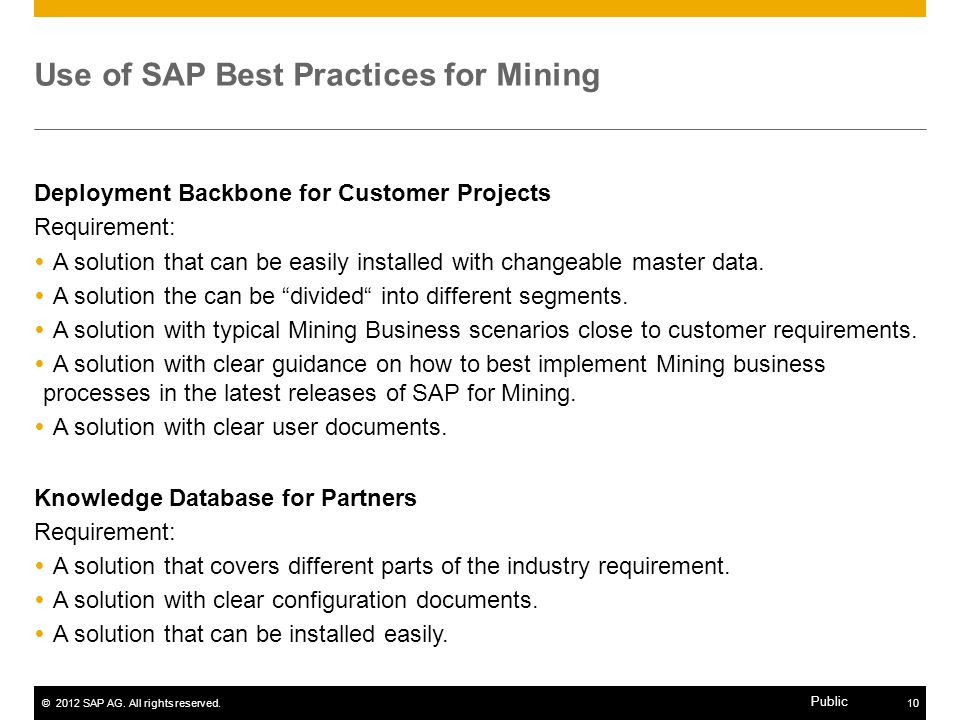 Use of SAP Best Practices for Mining