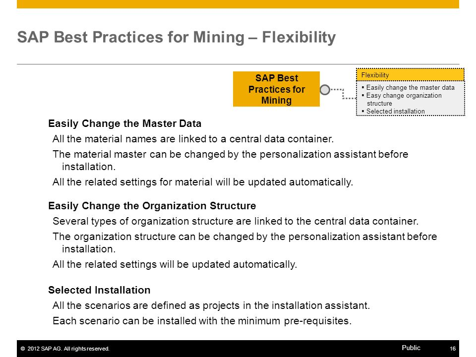 SAP Best Practices for Mining – Flexibility