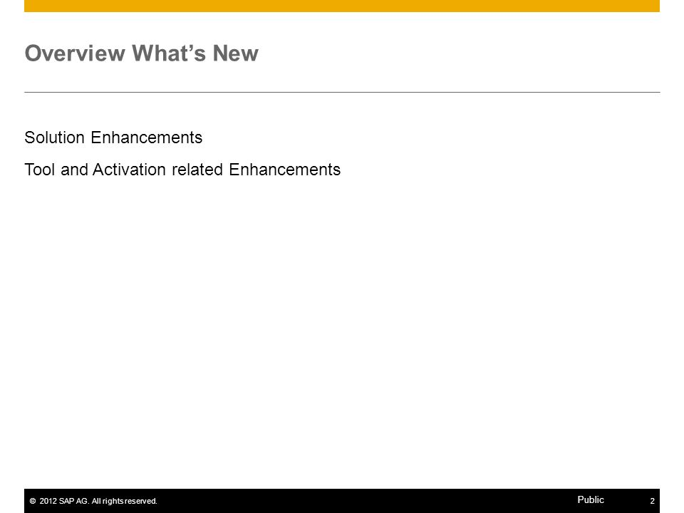 Overview What's New Solution Enhancements