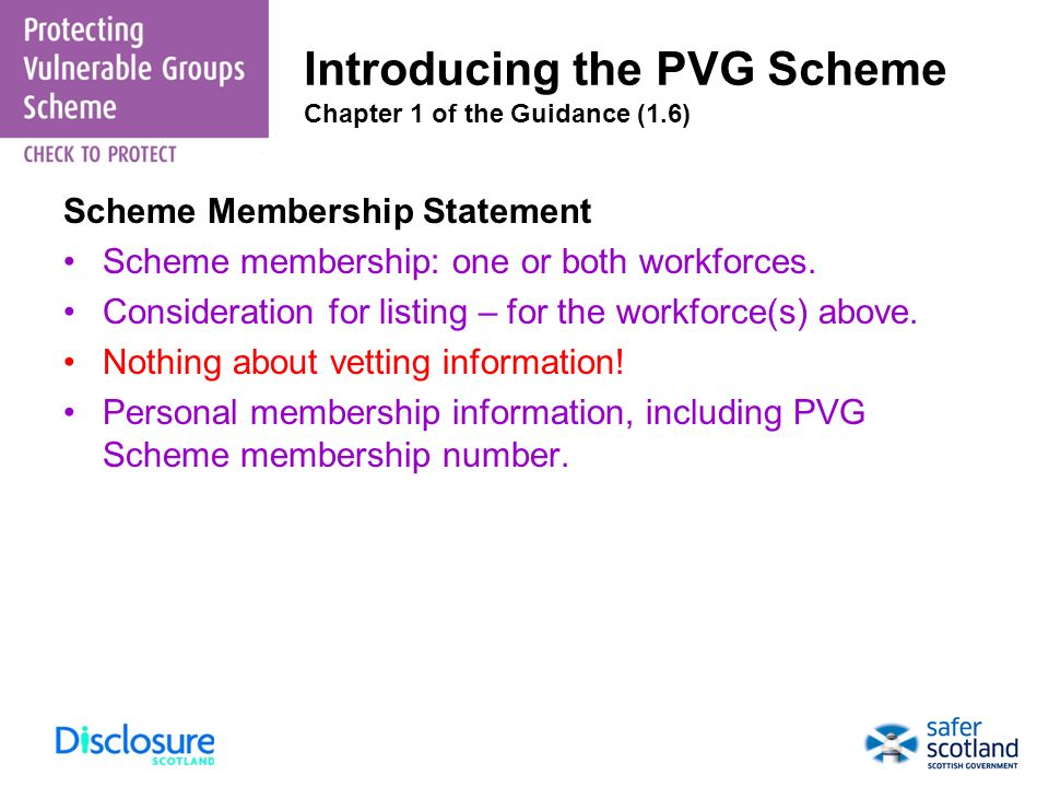 Introducing the PVG Scheme Chapter 1 of the Guidance (1.6)