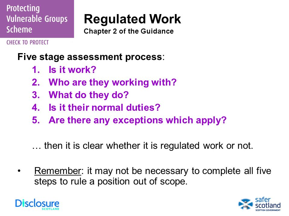 Regulated Work Chapter 2 of the Guidance