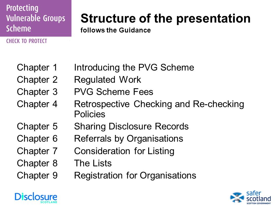 Structure of the presentation follows the Guidance