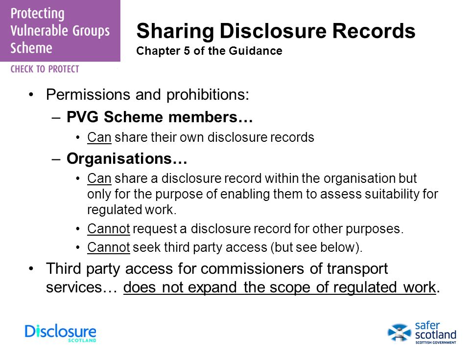 Sharing Disclosure Records Chapter 5 of the Guidance