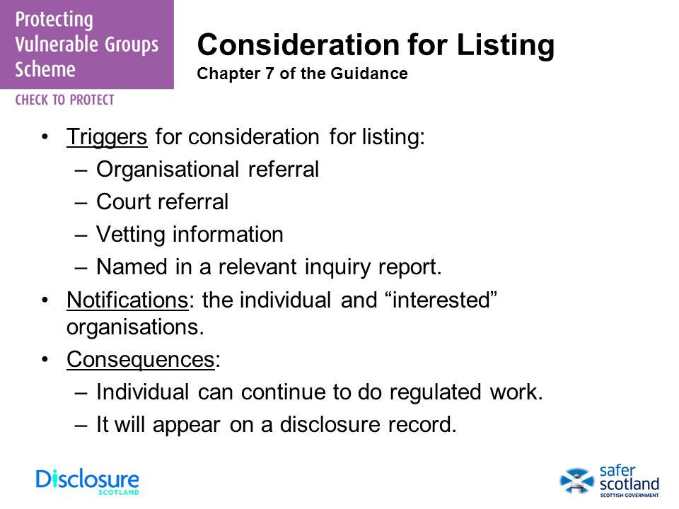 Consideration for Listing Chapter 7 of the Guidance