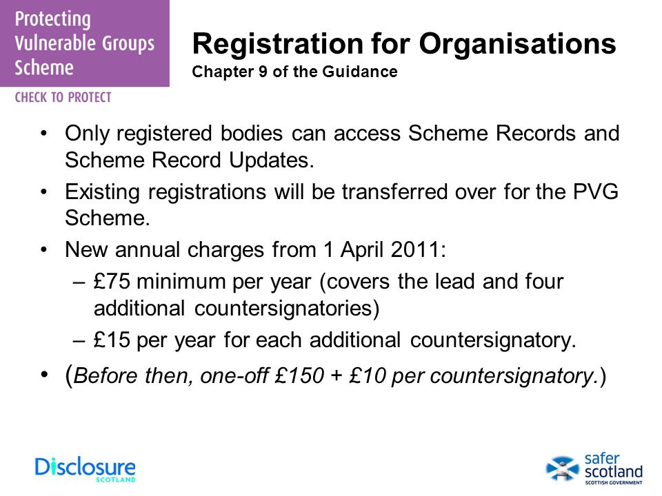 Registration for Organisations Chapter 9 of the Guidance