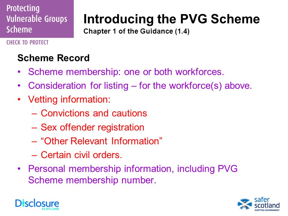 Introducing the PVG Scheme Chapter 1 of the Guidance (1.4)