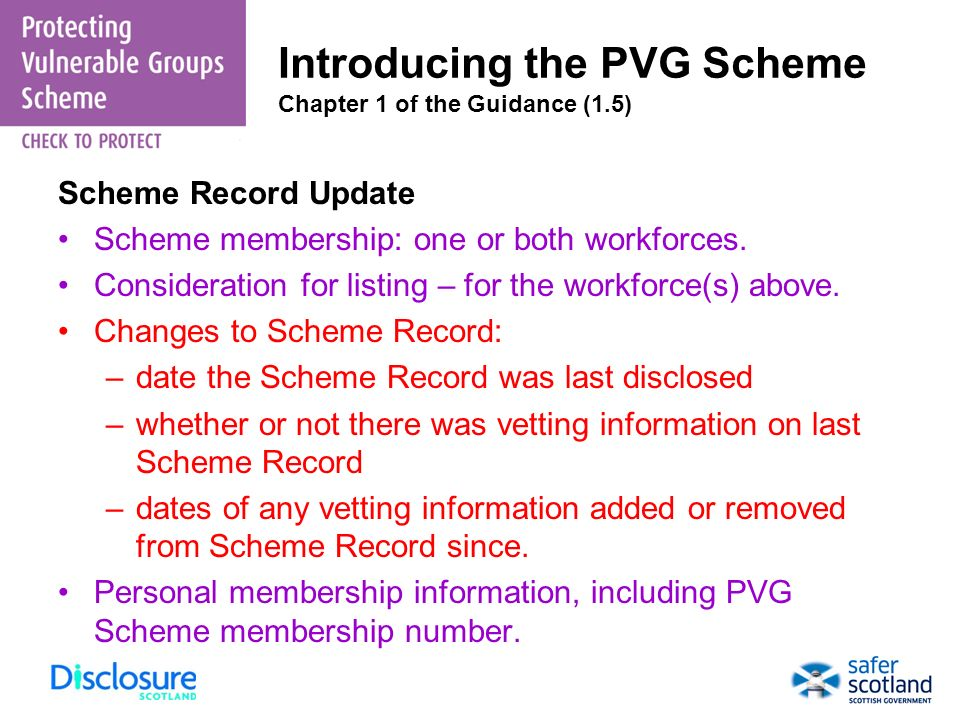 Introducing the PVG Scheme Chapter 1 of the Guidance (1.5)