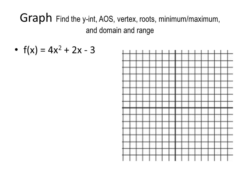 Graph Find the y-int, AOS, vertex, roots, minimum/maximum, and domain and range