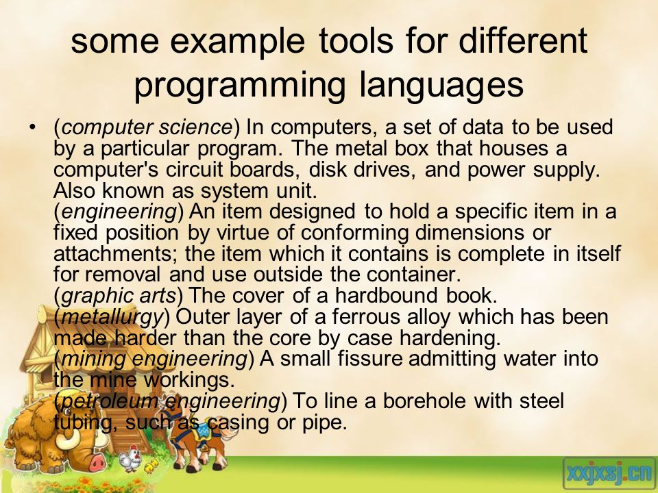 some example tools for different programming languages