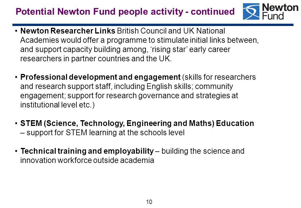 Potential Newton Fund people activity - continued