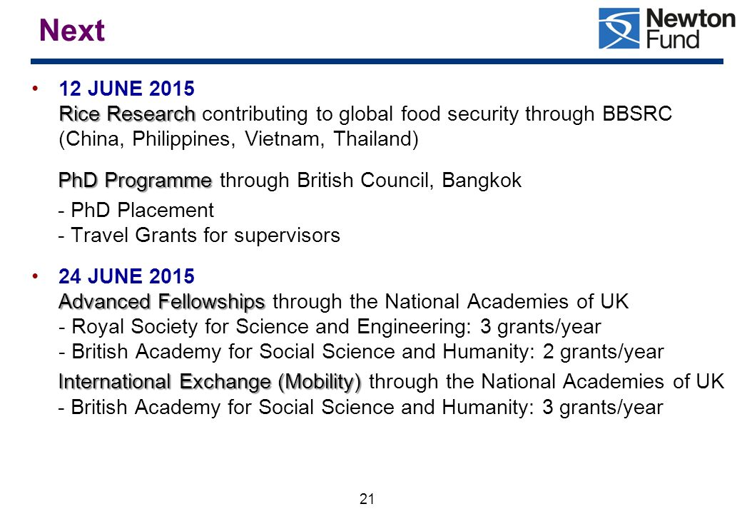 Next 12 JUNE 2015 Rice Research contributing to global food security through BBSRC (China, Philippines, Vietnam, Thailand)