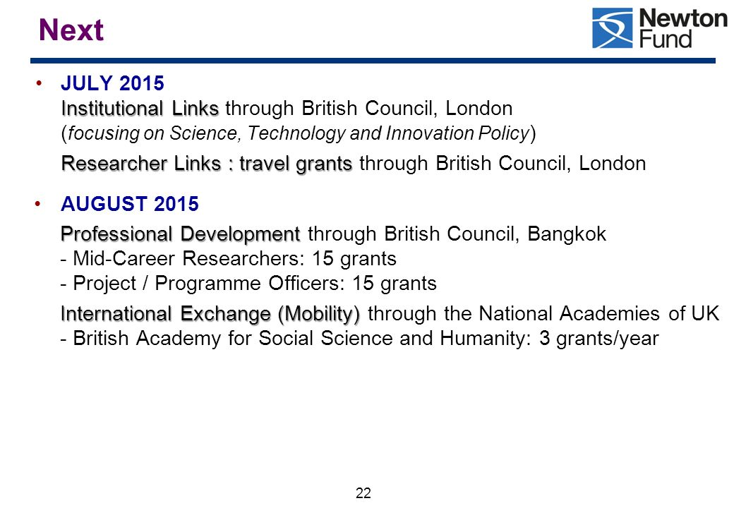 Next JULY 2015 Institutional Links through British Council, London