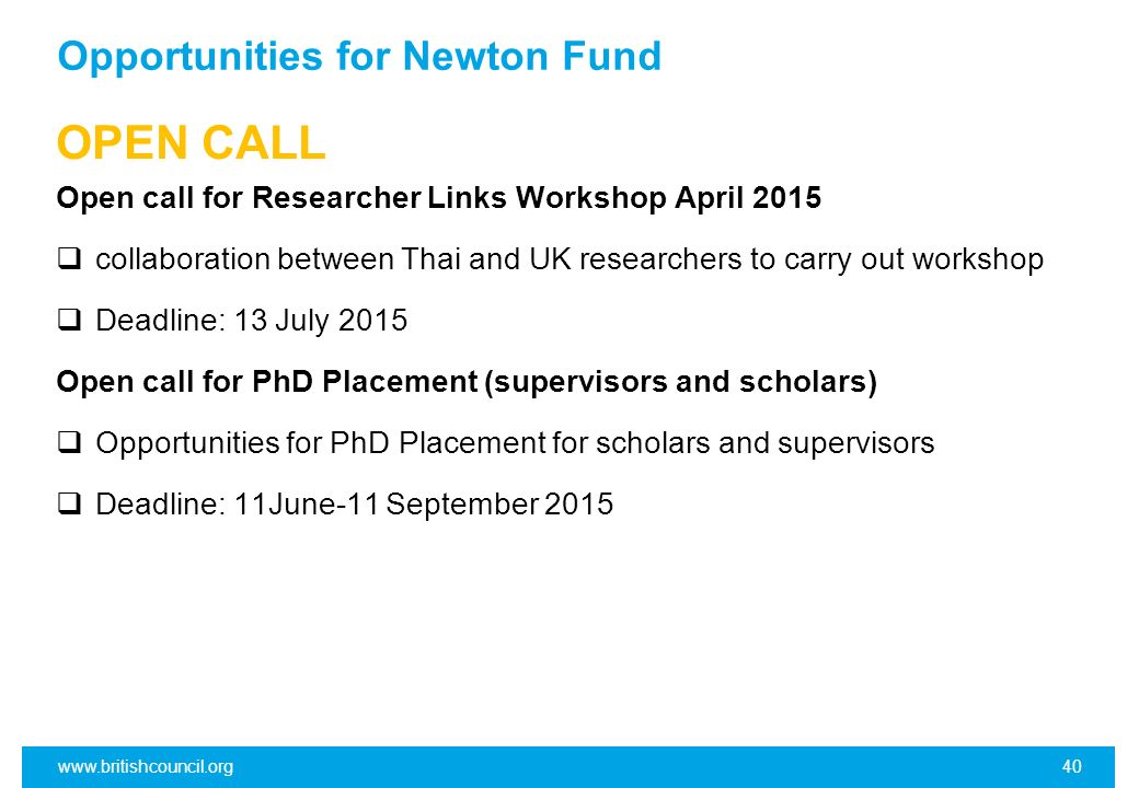 Opportunities for Newton Fund