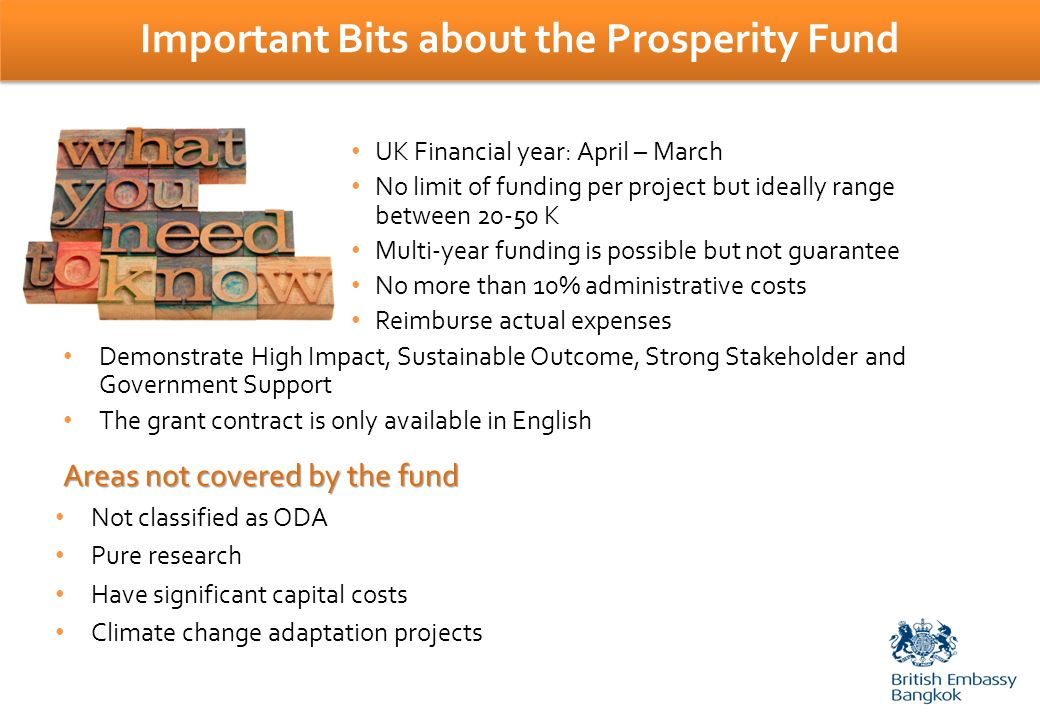 Important Bits about the Prosperity Fund