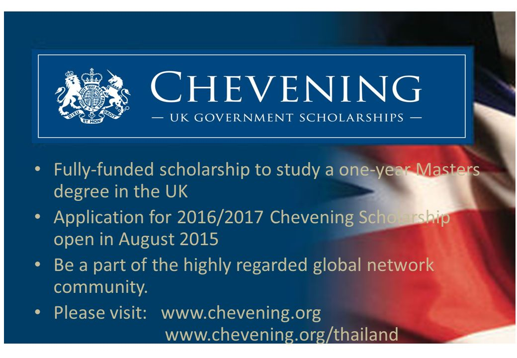 Fully-funded scholarship to study a one-year Masters degree in the UK
