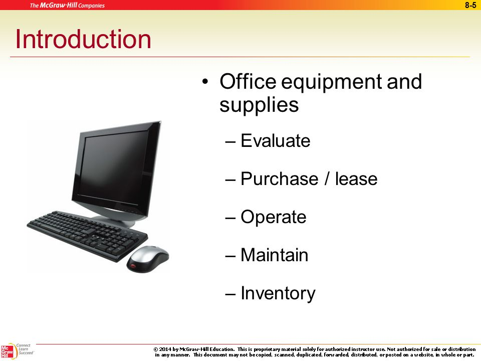 Introduction Office Equipment And Supplies Evaluate Purchase Lease