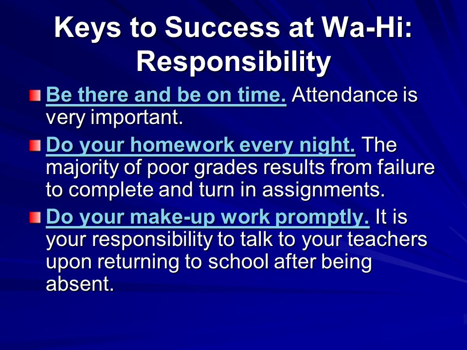 Keys to Success at Wa-Hi: Responsibility
