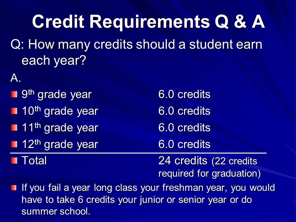 Credit Requirements Q & A