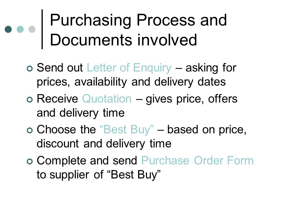 Purchasing Process and Documents involved