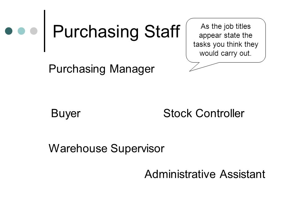 Purchasing Staff Purchasing Manager Buyer Stock Controller
