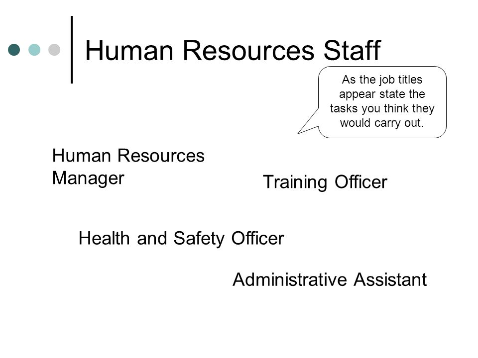 Human Resources Staff Human Resources Manager Training Officer
