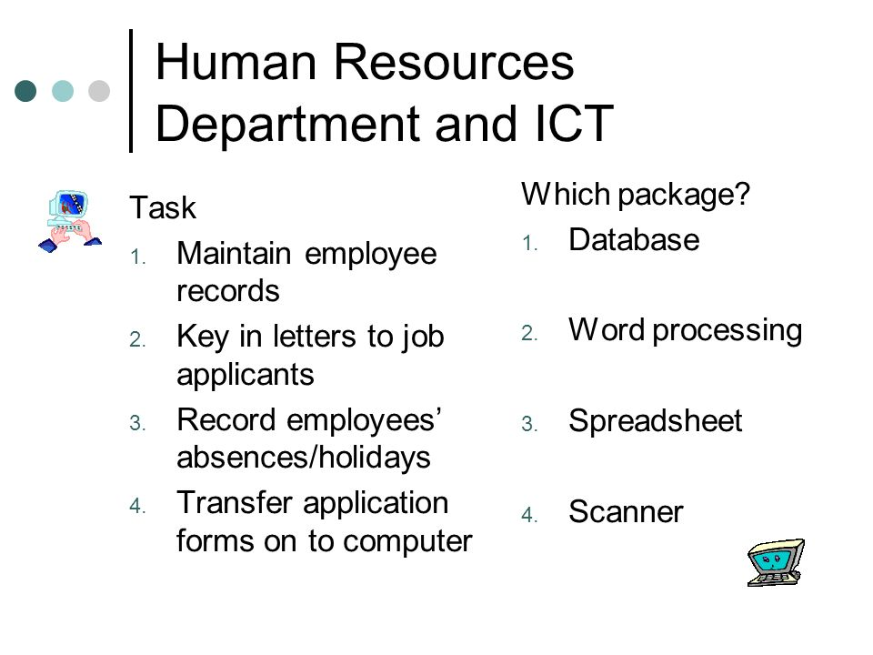 Human Resources Department and ICT