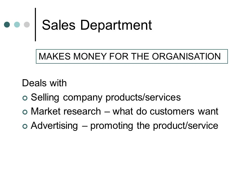 Sales Department Deals with Selling company products/services