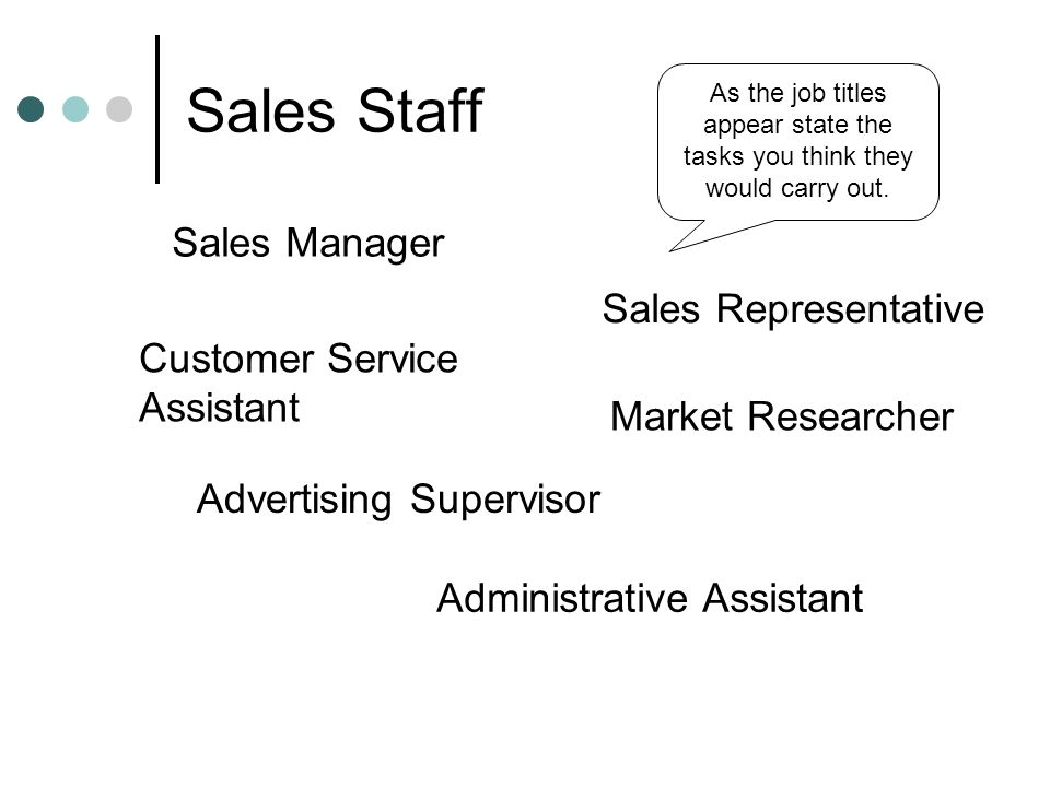 Sales Staff Sales Manager Sales Representative