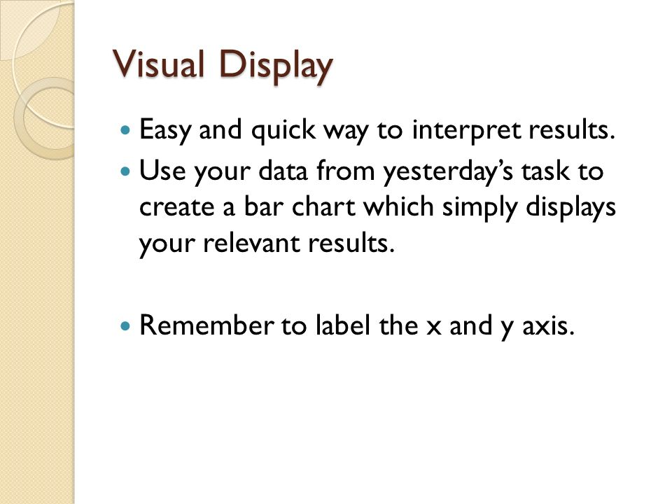 Visual Display Easy and quick way to interpret results.