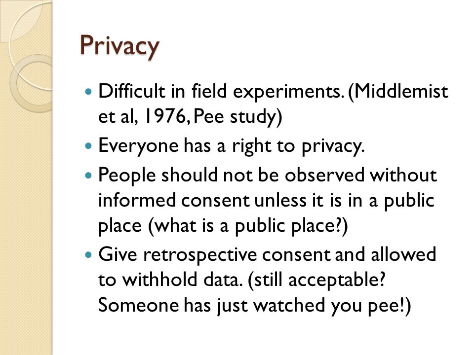 Privacy Difficult in field experiments. (Middlemist et al, 1976, Pee study) Everyone has a right to privacy.