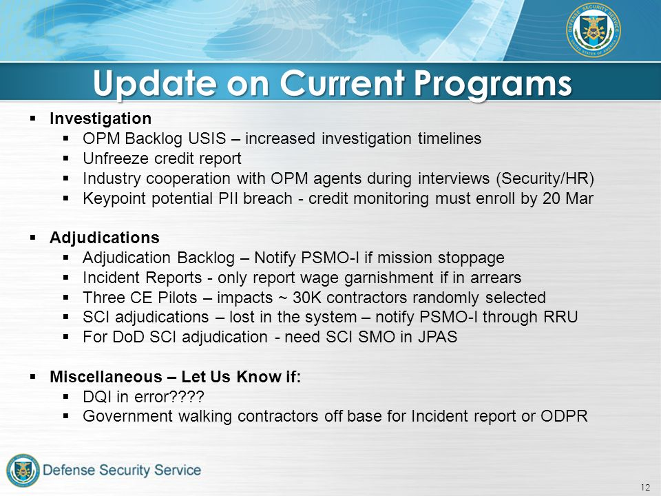 Personnel Security Management Office for Industry - ppt