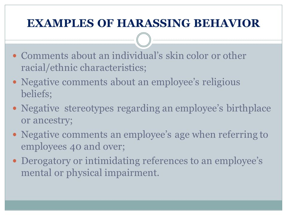 Examples of intimidating behavior