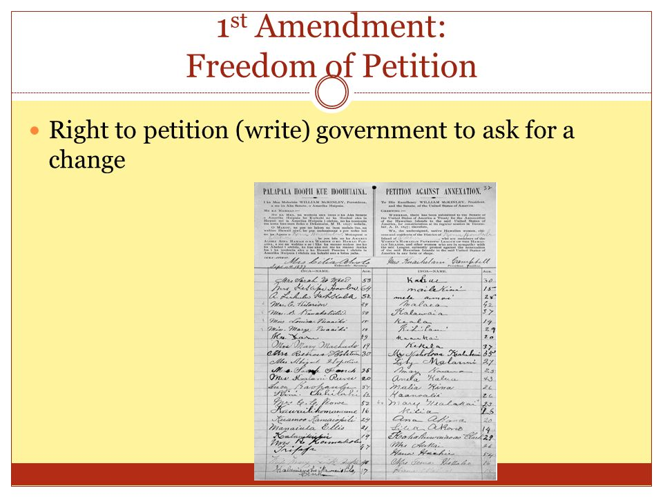 right to petition amendment unit 6notes civil rights and liberties ppt 9016