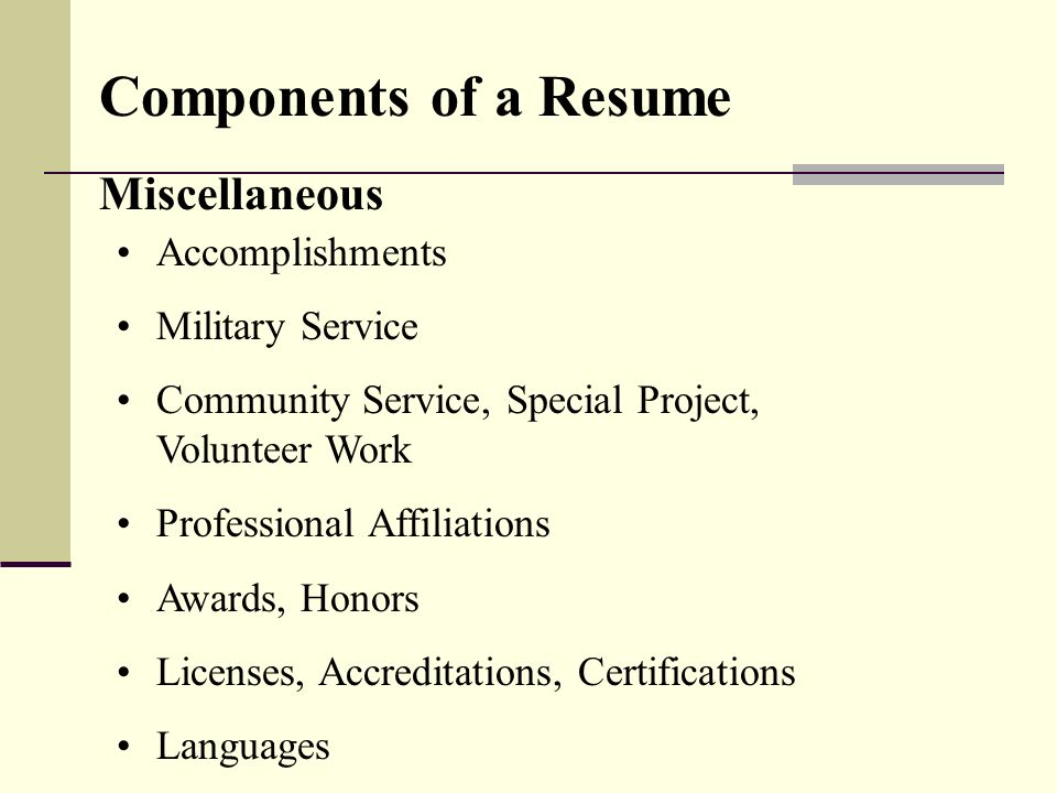 Components Of A Resume Miscellaneous Accomplishments Military