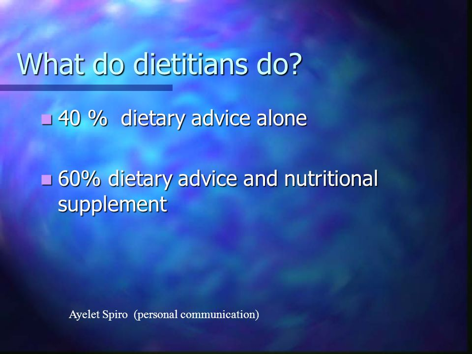 What do dietitians do 40 % dietary advice alone