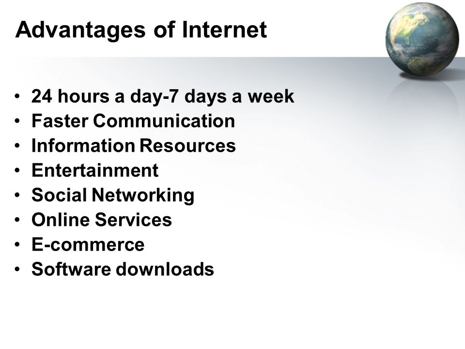 information about advantages of internet