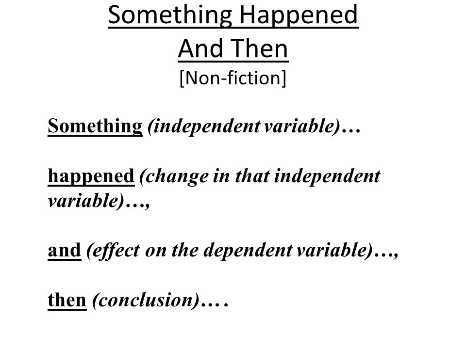 Something Happened And Then [Non-fiction]